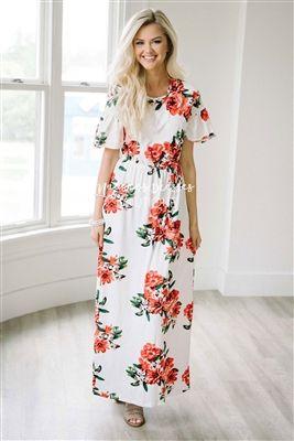 5395eb705e White Red Ruffle Sleeve Floral Maxi Modest Dress, Church Dresses, dresses  for church, modest bridesmaids dresses, best modest boutique, modest clothes,  ...