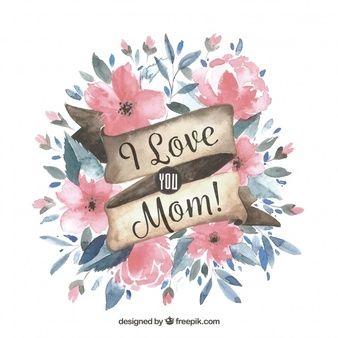 fondo del día de la madre con flores en estilo acuarela dibujos