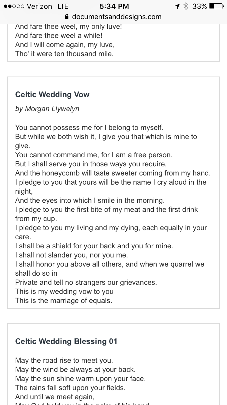 Celtic wedding vows. Love these!!! Celtic wedding