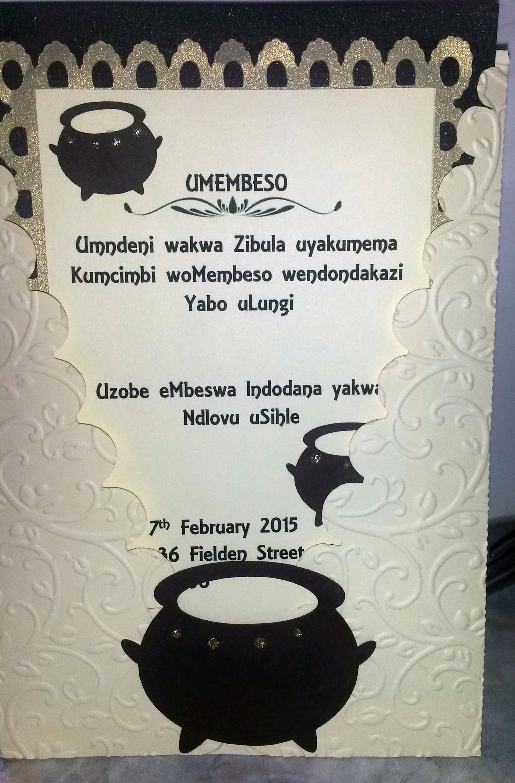 Traditional Zulu Invitation - Umembeso. Copyright - Creative Flair ...