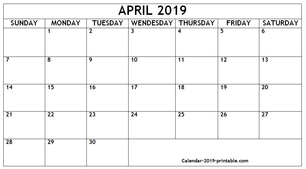 Printable Calendars 2019 April-December Printable Calendar Template April 2019 | April 2019 Calendar