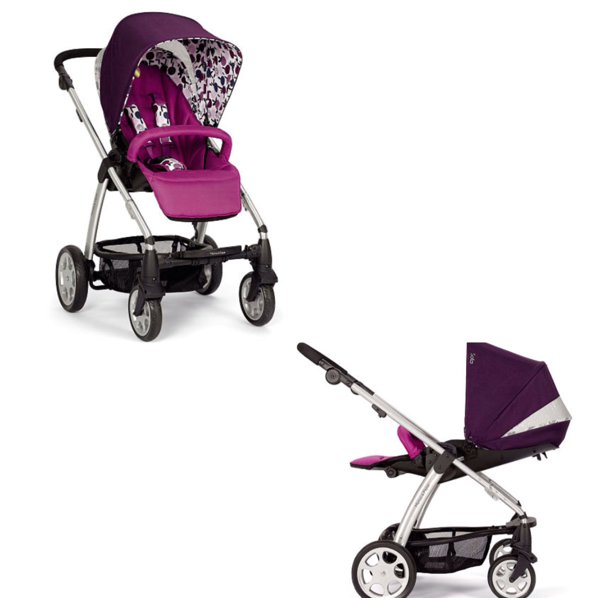 Mamas & Papas Sola Plum Petal stroller with Reversible reclining seat