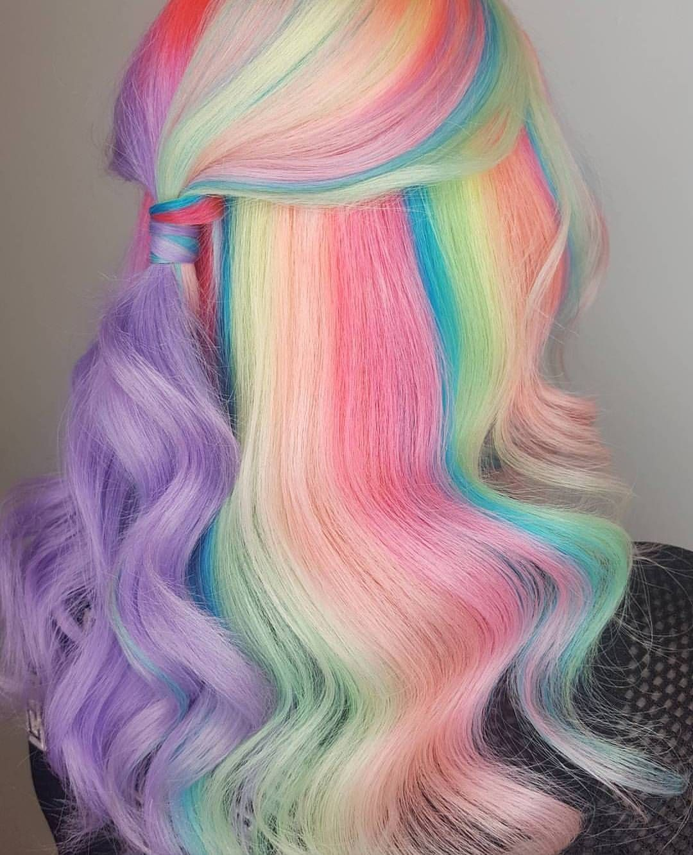 Fashion week Hair Rainbow color ideas for woman