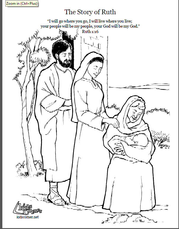story of ruth. coloring page script and bible story. http
