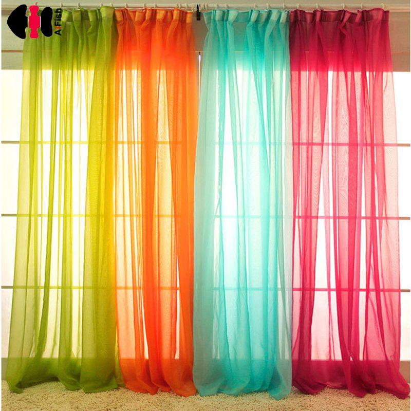 White Drapes Sheer Yarn Tulle Orange Curtains Room Divider Green