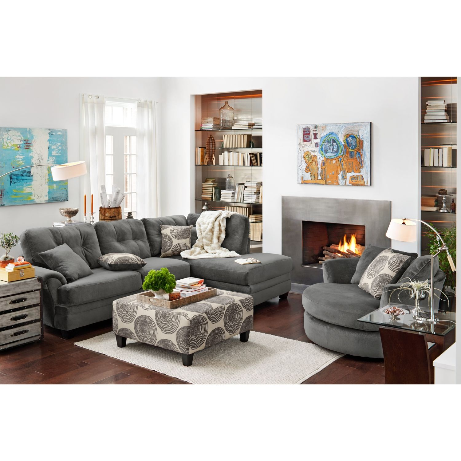 Value City Furniture Cordoba 2 Piece Sectional Cocktail Ottoman