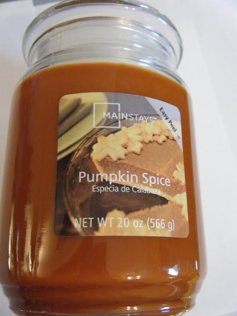 Pumpkin Spice by Mainstays  This is by far my favorite candle ever