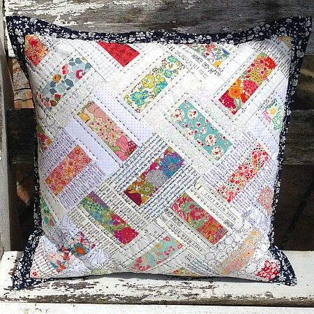 Cushion Cover Sewing Pattern Patchwork: domino patchwork quilted cushion pillow pdf pattern tikki london    ,