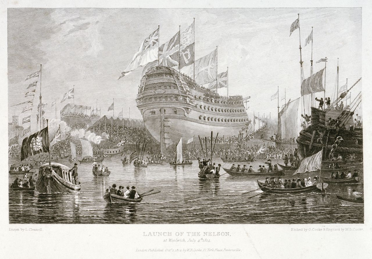 Launch of the Nelson at Woolwich, July 4th 1814 - National Maritime Museum. int Date made 	1 Oct 1814 Artist/Maker 	Clennell, Luke Credit 	National Maritime Museum, Greenwich, London Materials 	etching Parts	      Launch of the Nelson at Woolwich, July 4th 1814 (PAD6096)