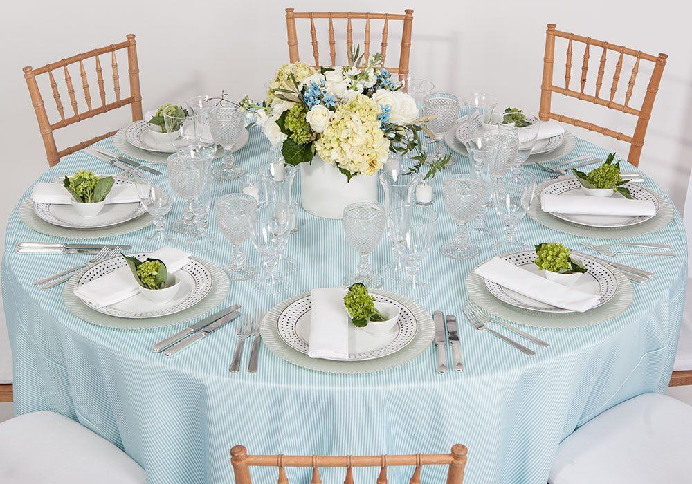 Party Rental Ltd. Aqua & White Pinstripe Party rentals