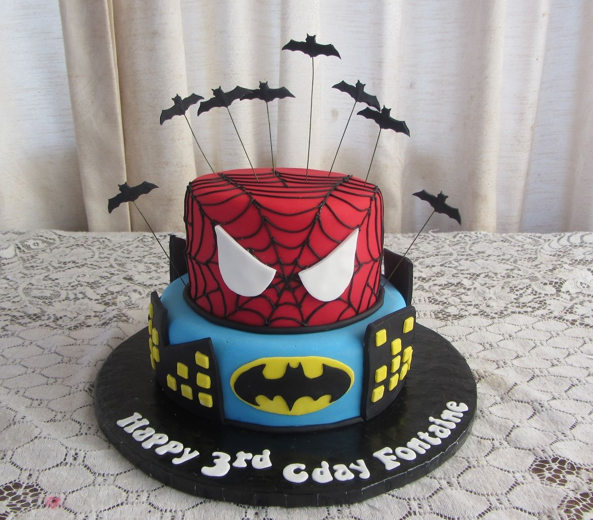 coloring pages batman spiderman cakes - photo#6