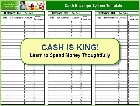 Free cash envelope system template Frugality - Living a frugal - cash template