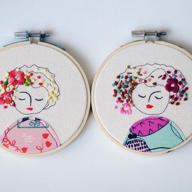 Girls! #embroidery #elenacaron #embroideryhoop #art #illustration ...