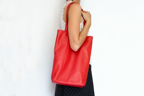 Free Shipping Red Tote Leather Bag For Her Woman By Fajnasumka Leather Bags Handmade Genuine Leather Totes Red Tote