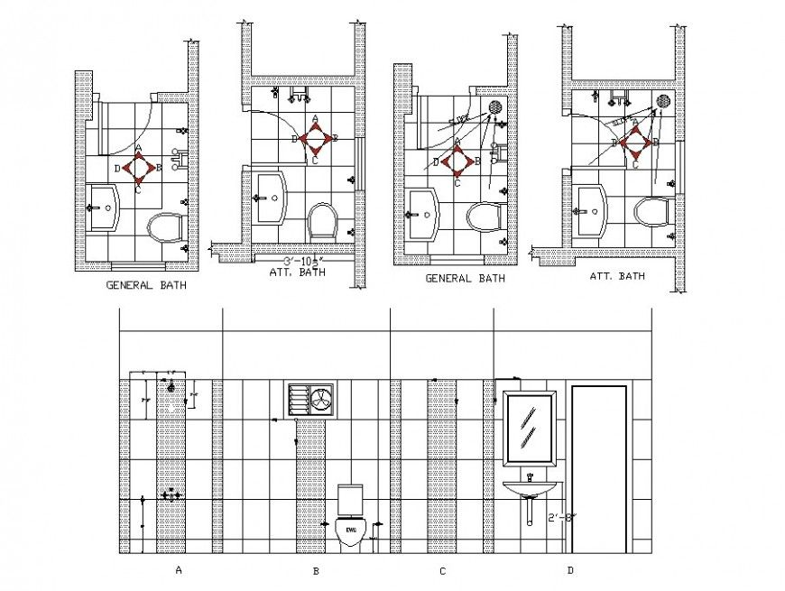 Sanitary public toilet plan, elevation and section layout ...