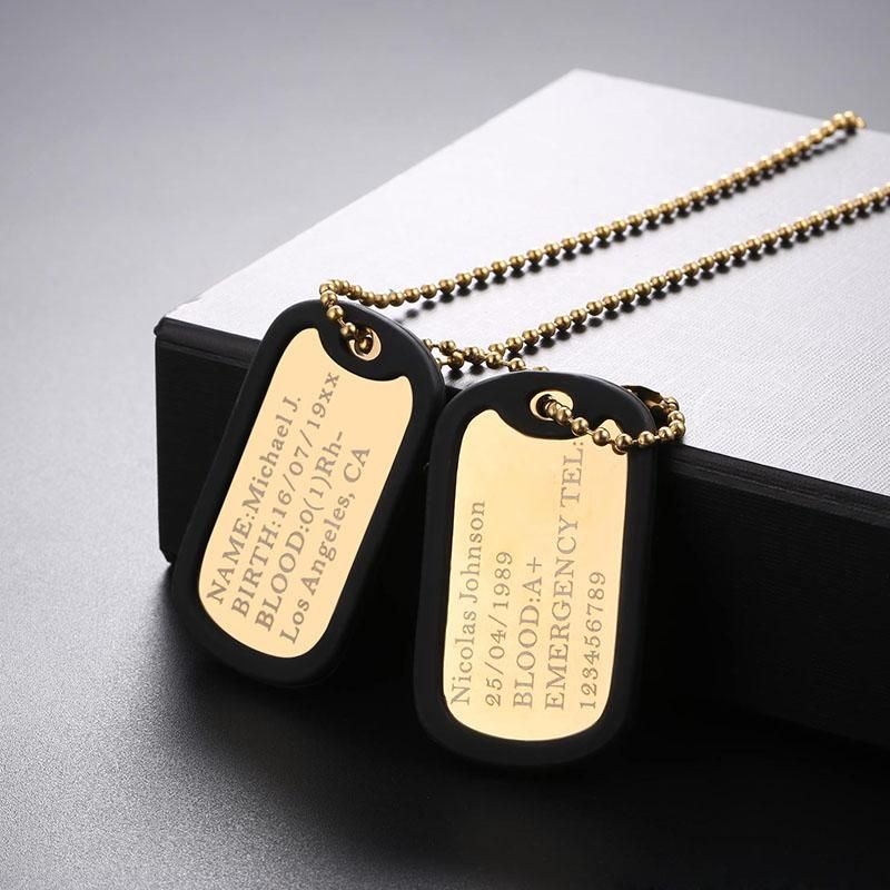 Engraving Military Double Dog Tags Rubber Personalized Necklace