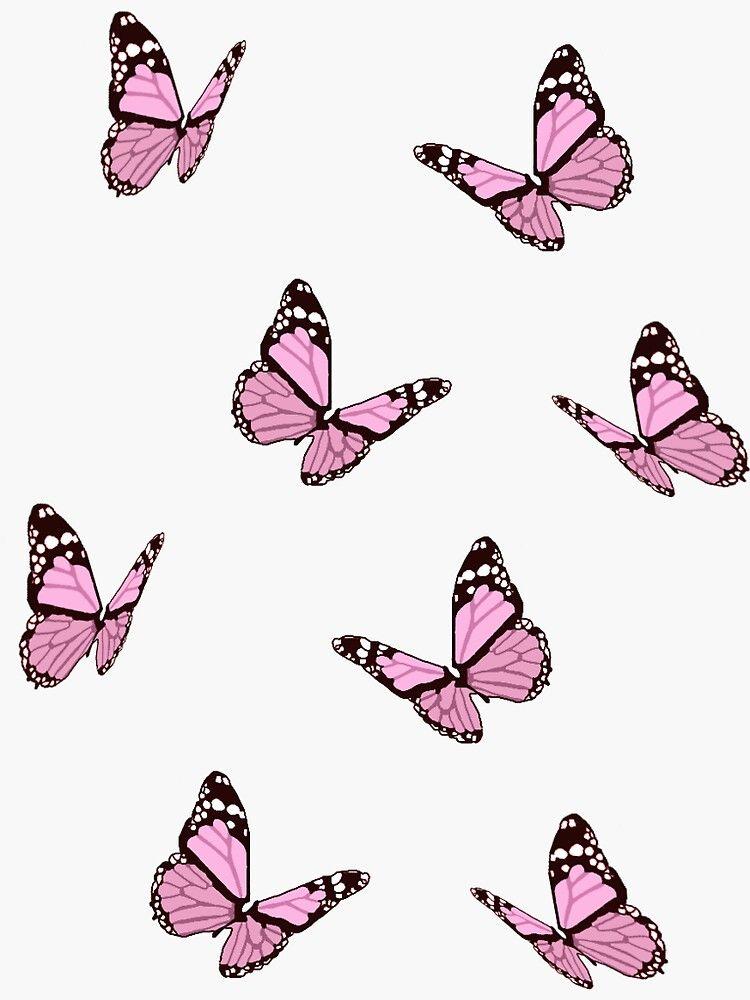 Pink Butterflies Sticker By Maiaswamy In 2021 Purple Butterfly Wallpaper Pink Wallpaper Backgrounds Butterfly Wallpaper