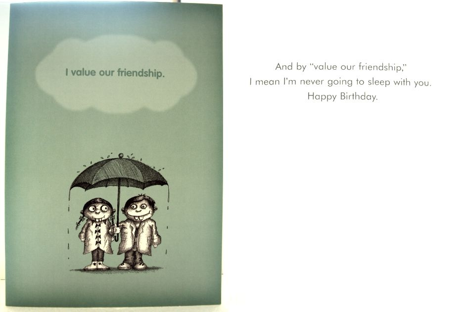 Funny Birthday Card to give to a friend I value our friendship – Happy Birthday Cards for a Guy Friend