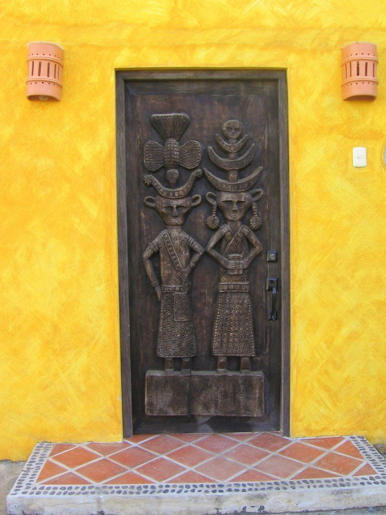 Mexico -- bright yellow walls and carved wood doors. | Doors ...
