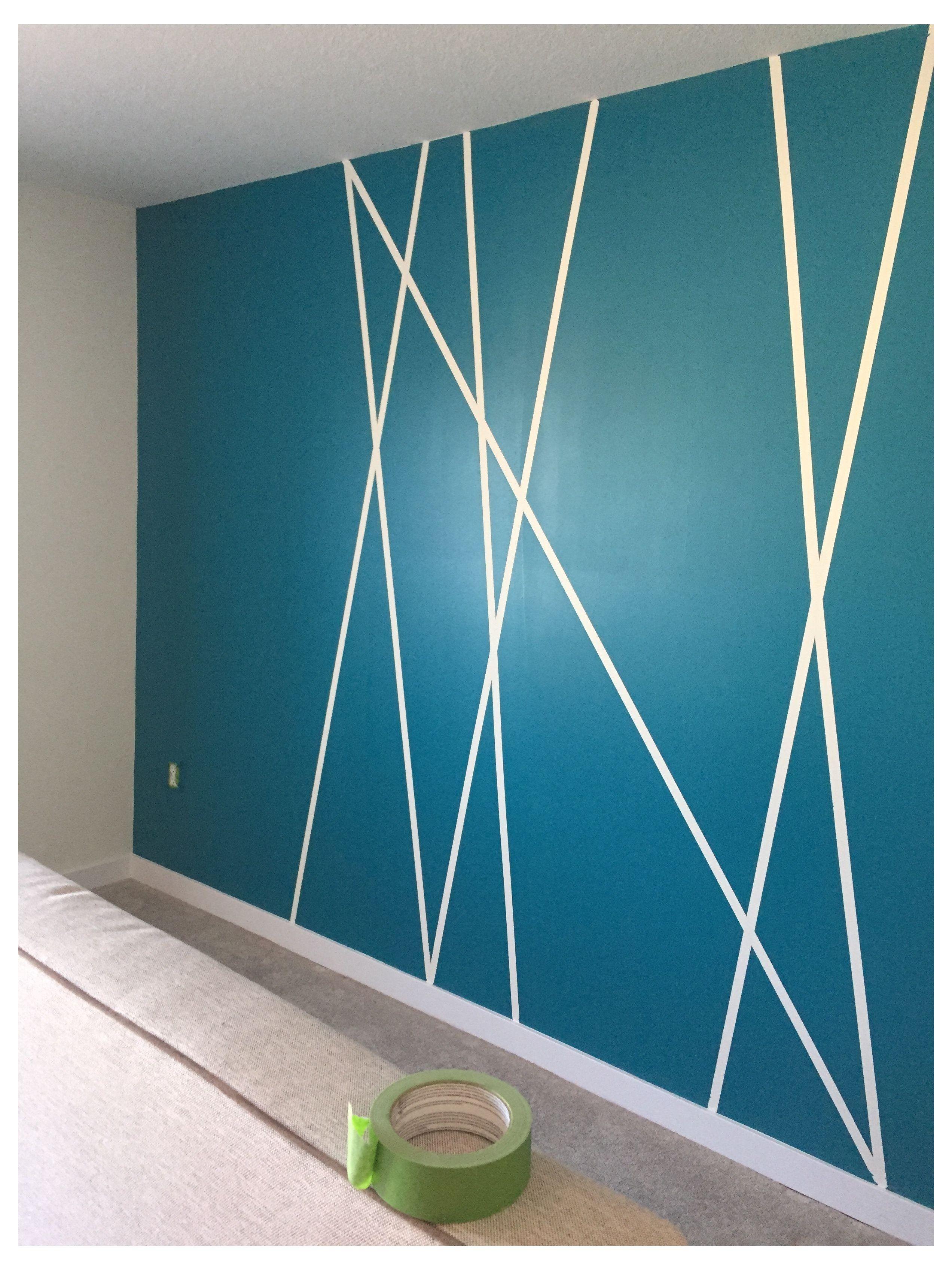 Geometric Wall Art Diy Painters Tape Geometricwallartdiypainterstape Diy Accent Wall Using Pa Wall Paint Designs Geometric Wall Paint Bedroom Wall Paint