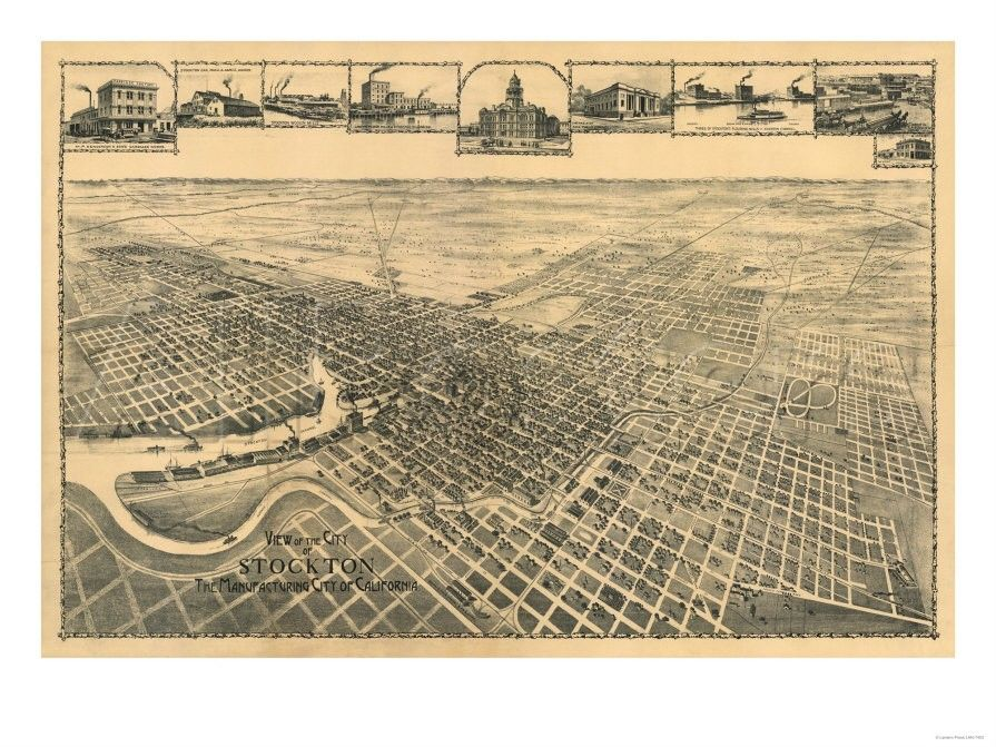 California Map Hwy 99%0A Map of Stockton  California from the late      u    s  Manufacturing City of CA