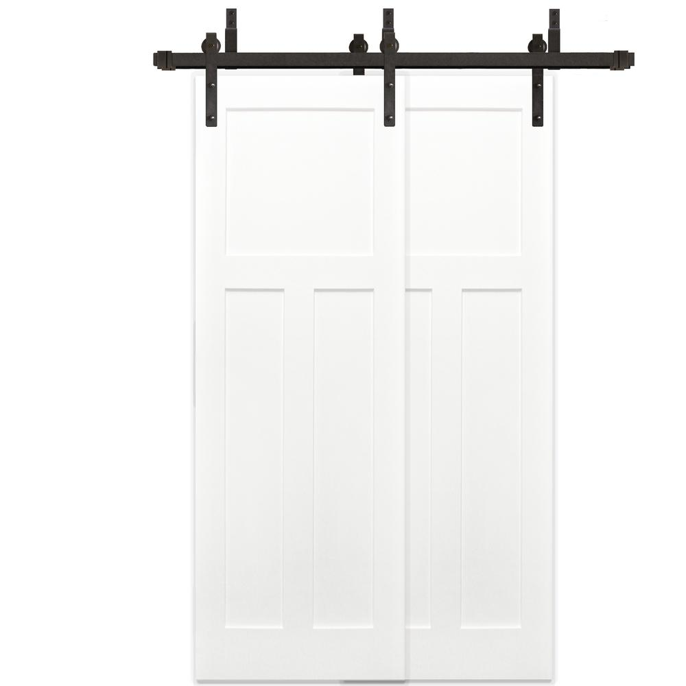 Pacific Entries 48 In X 80 In Bypass Unfinished 3 Panel Solid Core Primed Pine Wood Sliding Barn Door With Bronze Hardware Kit Byp2235 4880 10b Garage Door Design Sliding Barn Door Hardware Wood Barn