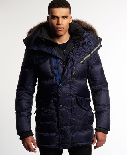Superdry Atmosphererix Military Down Parka Jacket Navy | Parka ...