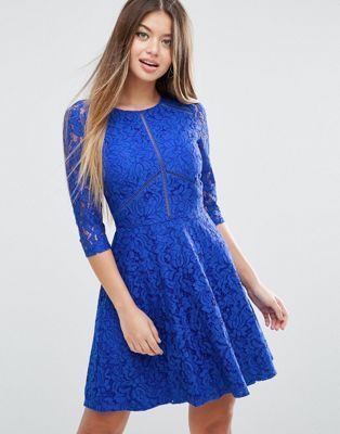 ASOS Skater Dress in Lace with Ladder Trim