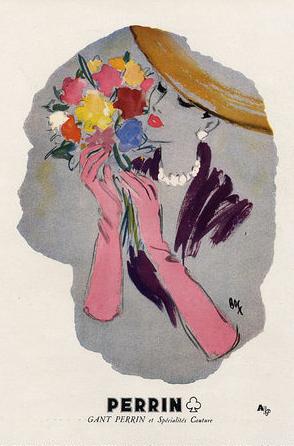 Illustration by Fernando Bosc, 1948, Perrin Gloves ad.