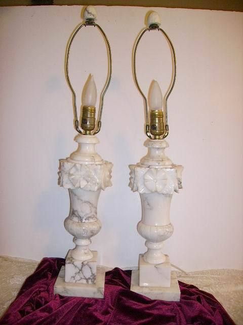 Finials For Lamps Stunning Vintage Alabaster Marble Carved Pair Lamps With Finials  Bpc Design Inspiration