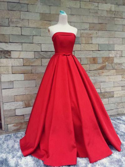 cheap simple a line strapless floor length satin prom dress
