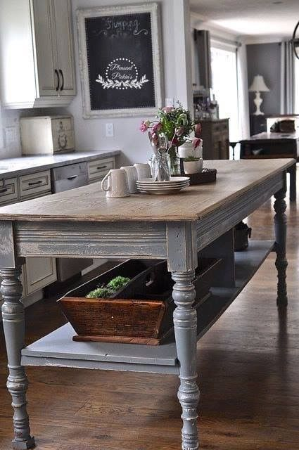 How About A Long Narrow Table In The Middle Of The Kitchen Rustic Kitchen Island Farmhouse Kitchen Tables Kitchen Concepts