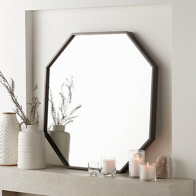 Accent Wall Using Grey Black And Dark Oak: Octagon Grey Oak Wall Mirror In 2019