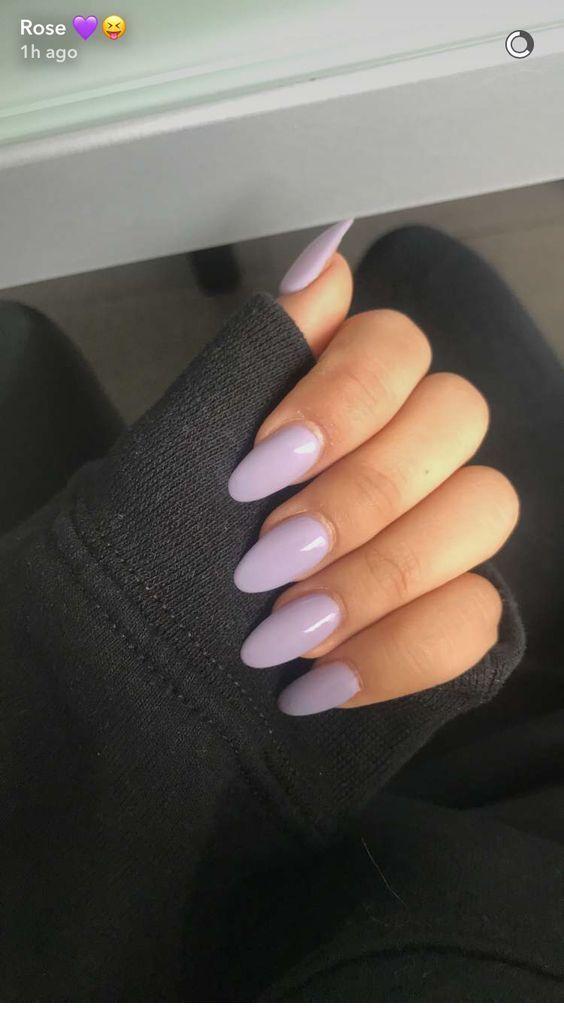 Almond Medium Nails Inspiring Ladies Lilac Nails Lavender Nails Oval Nails
