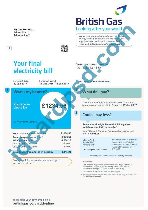 uk utility bill - uk gas bill psd template