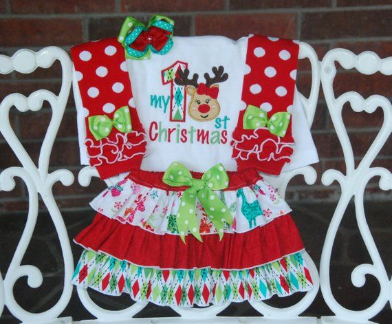 4 pc Baby Girl Christmas Outfit! My 1st Christmas outfit for baby