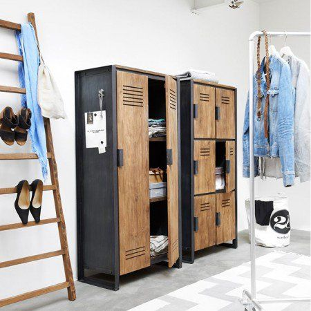 Industriële Lockerkast - Teakhout #Locker #Kast #Teak #Hout ...