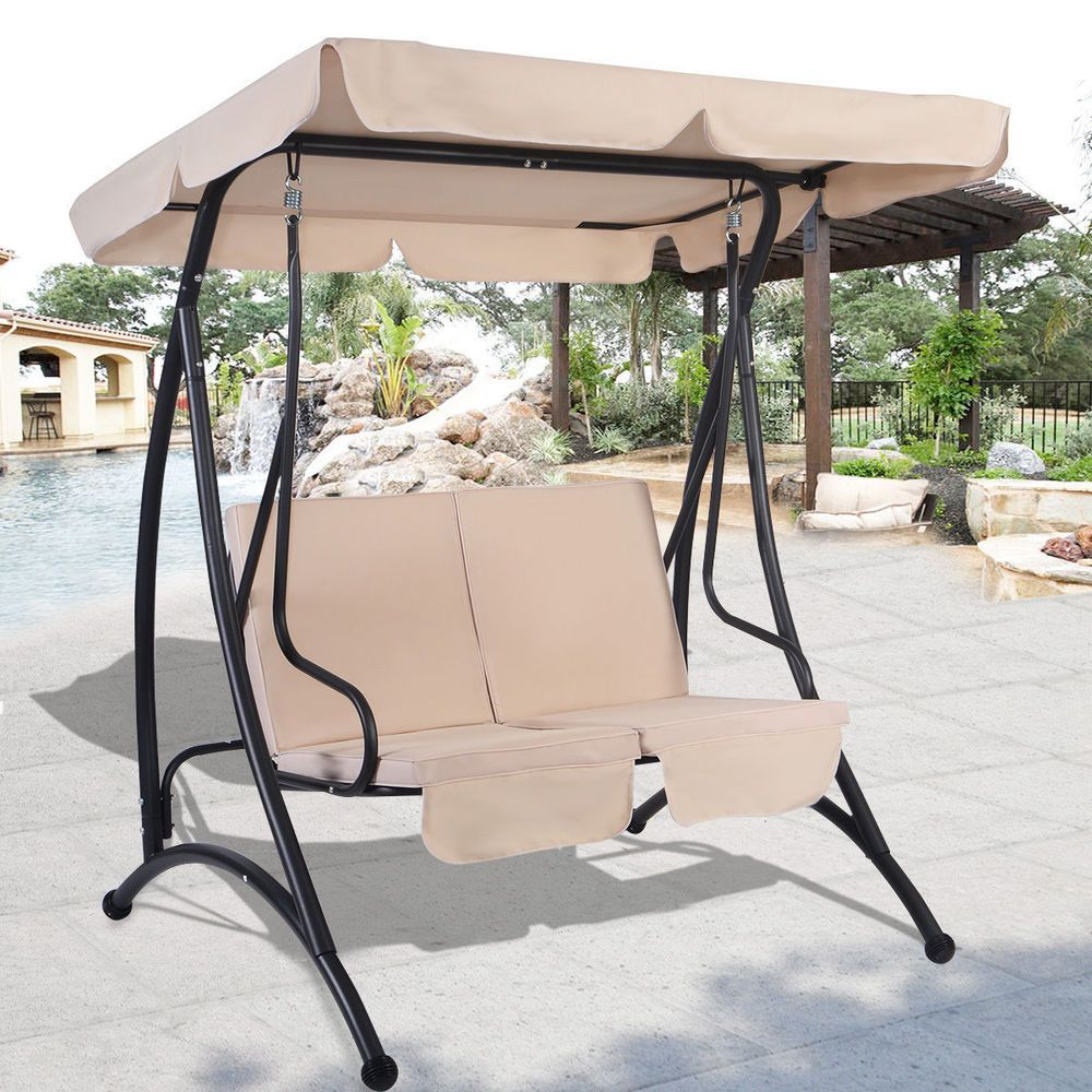 Outdoor Patio Canopy Swing Chair Metal 2 Person Garden Furniture Beige Cushions Patio Hammock Swing Chair Outdoor Canopy Swing