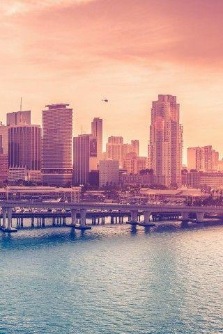 City Skyline Bridge Sunset IOS8 IPhone 6 Plus HD Wallpaper