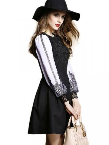Various Retro Printed Lace Patchwork Long Sleeve Dress Online - NewChic