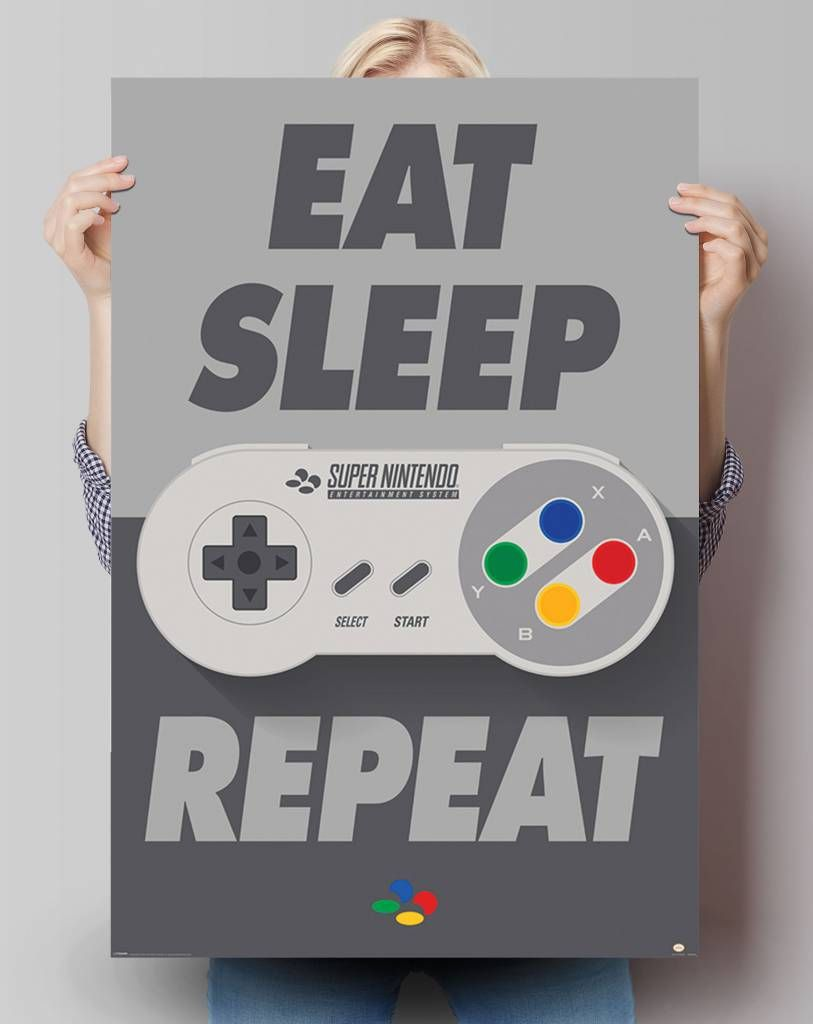 Gaming Maxi Poster 61cm x 91.5cm new and sealed Eat Sleep Game Repeat