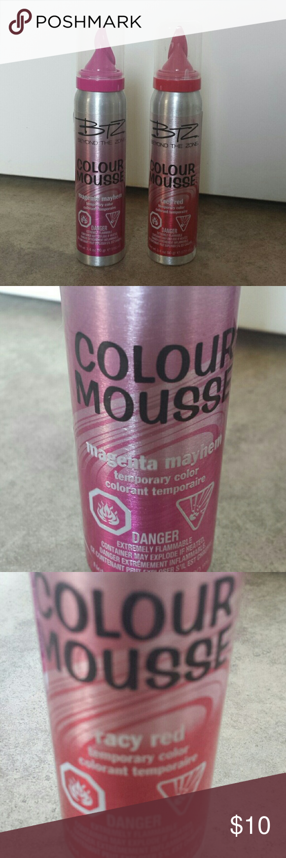 Colour Mousse Lot Magenta Mayhem and Racy Red. Each used 1x. Bottles are pretty much full.  Says its temporary, but more of a semi permanent IMO. BTZ Beyond The Zone Accessories Hair Accessories