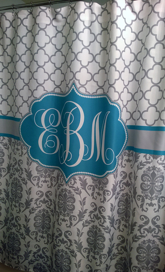 Shower Curtain Fabric Damask Lattice 70 74 78 84 96 Inch Long Lengths Personalized Monogrammed F