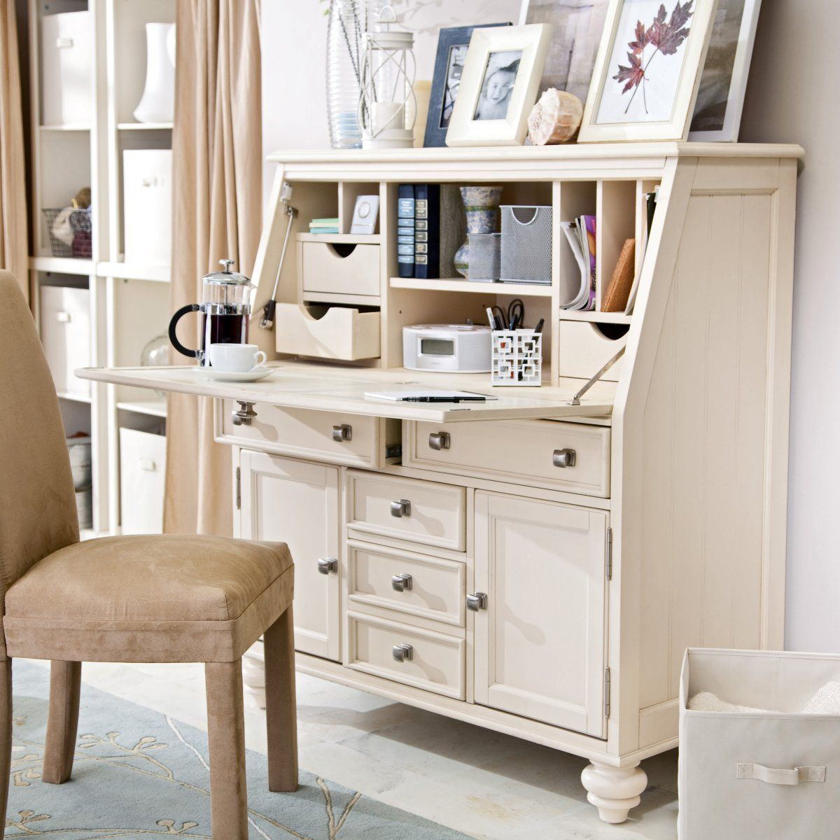 Camden Drop Lid Secretary Desk Cream Www Hayneedle Com White Secretary Desk Desks For Small Spaces Secretary Desks
