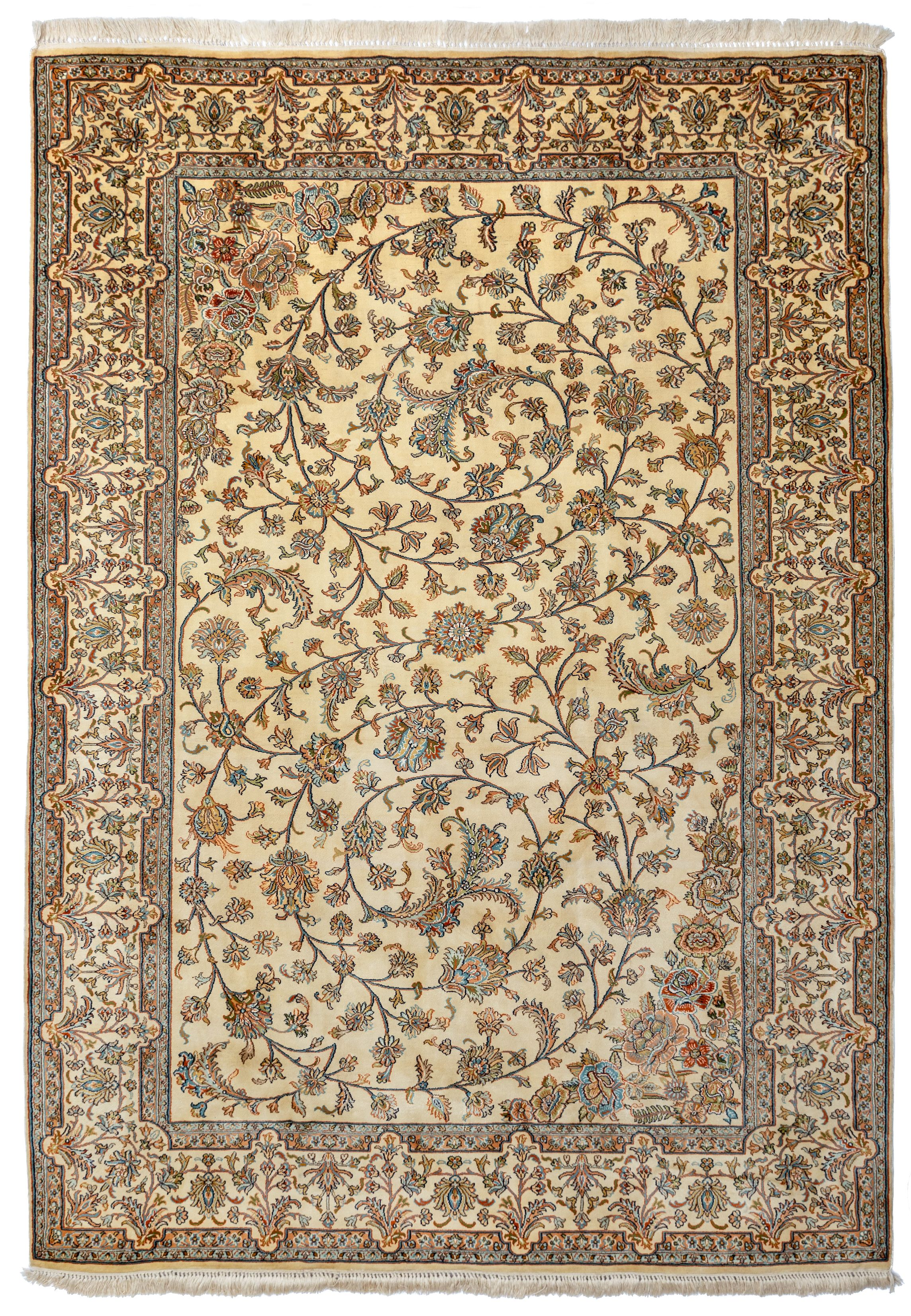 A Pure Kashmiri Silk Carpet With Unique All Over Scrolling Vine Design Silk Carpet Vine Design Old Art