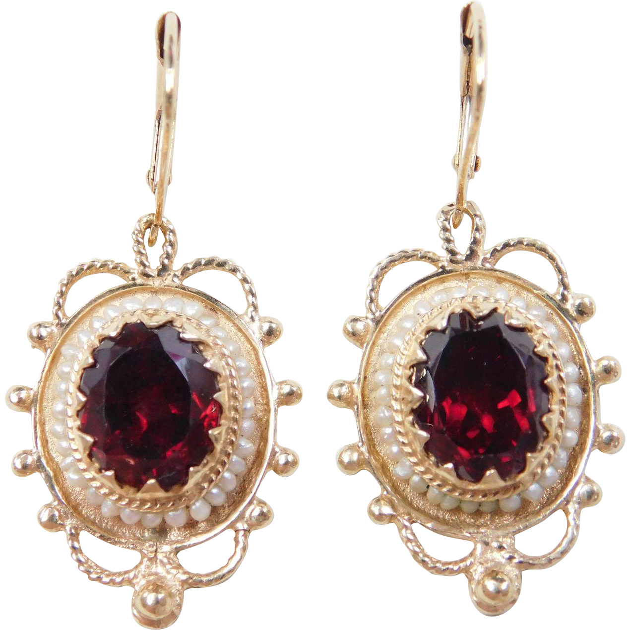 Item Vintage 14k Gold Victorian Revival Garnet And Seed Pearl Dangle Earrings Composition Yellow Acid Tested Gem 5 60 Ctw