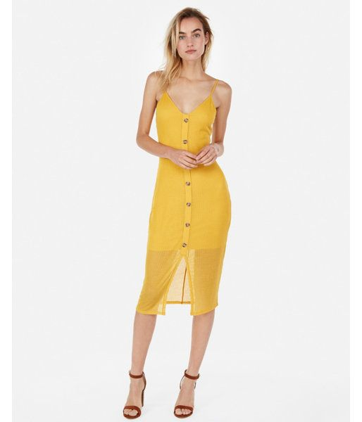 643ae05cf98 Express Ribbed Button Front Midi Dress in 2019
