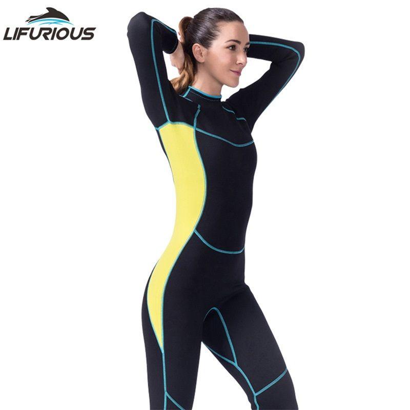 d3467974ee7 LIFURIOUS Wetsuit for Swimming Women Long Sleeved Jumpsuit Snorkeling Swimwear  Wetsuits Women Surfing Spearfishing Full Bodysuit