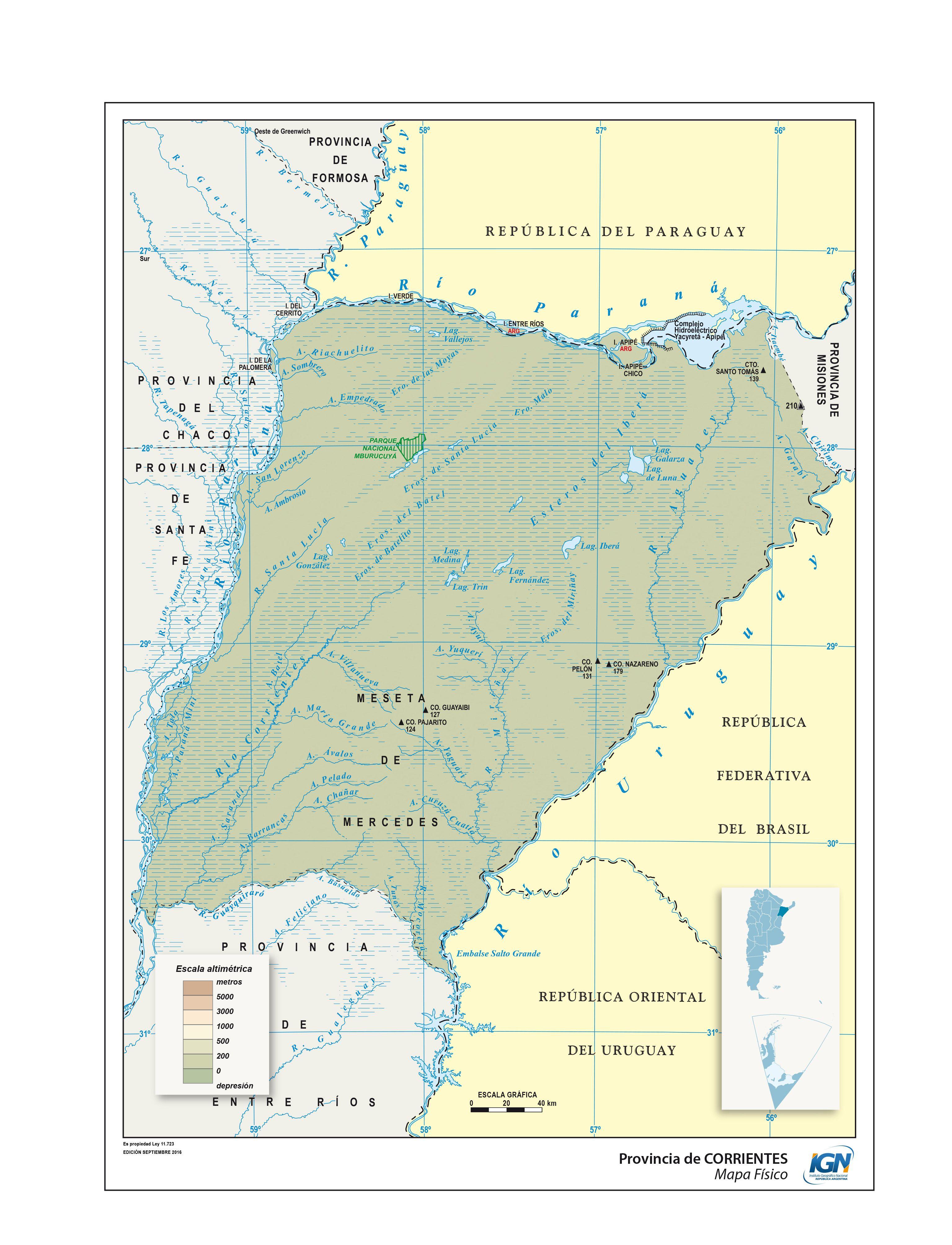 Mapa Fisico De Corrientes Instituto Geografico Nacional De La