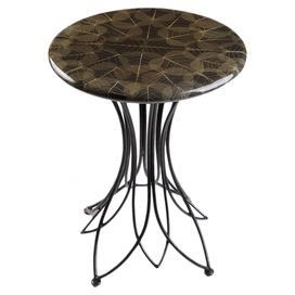 Accent table with a fossilized leaf top and openwork metal base.   Product: Accent tableConstruction Material: Wood and metalColor: BlackFeatures:   Fossilized leaf topLeaf shaped baseWill enhance any dcor  Dimensions: 26 H x 20 Diameter
